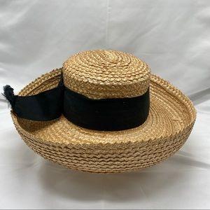 Straw Hat with Black trim Ribbon size medium